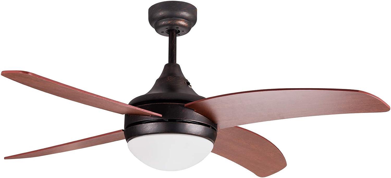 Ventilador de techo con luz modelo OSIRIS marrón RÚSTICO y aspas color nogal, tamaño mediano,silencioso,3 velocidades,función invierno/verano,con mando a distancia y portalámparas E27 para bombillas