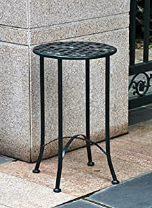16 in. Iron Patio Side Table (Verti Gris)