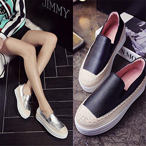 Espadrilles Creeper Main Cuir Plateforme Fait Femme Roseg Chaussures Noir pqR1wFSWZ6