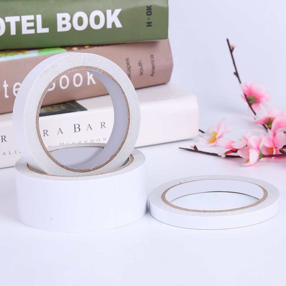 Docooler Blanco 15 mm de doble cara paquete de cinta de doble cara Adhesivo fuerte adhesi/ón Sticky potente papeler/ía para Office Home Diy manual de herramientas