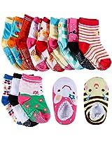 Lictin 14 Pairs Anti-slip Baby Girls Socks Baby Infants Socks Assorted Kids Socks Animal Print Girls Socks Fun Design Colored Socks Antislip Socks Baby Socks Set Socks Gift for 1-3 Years Baby
