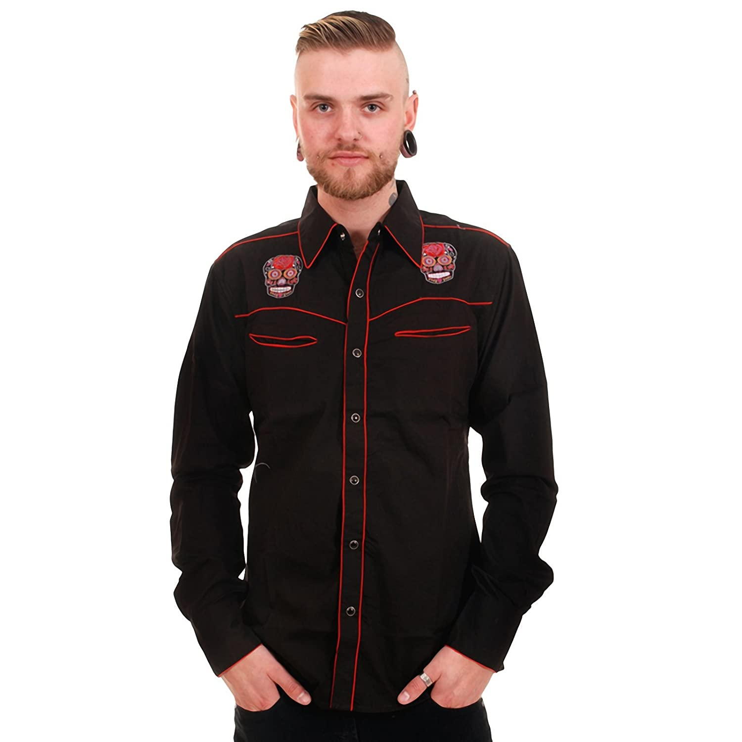 1950s Mens Shirts | Retro Bowling Shirts, Vintage Hawaiian Shirts Run & Fly Mens Western Shirt Embroidered Mexican Sugar Skull Tattoo Dead $44.95 AT vintagedancer.com