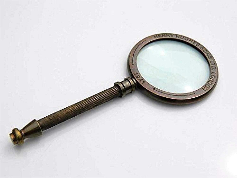 Classic Magnifier Full Brass Henry Hughes London Ltd.1942-Hand Held Magnifying Glass