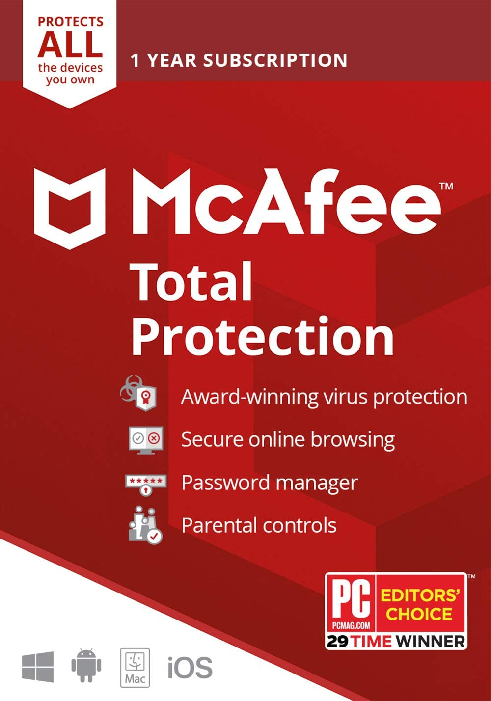 McAfee Total Protection 2020 Unlimited Devices, Antivirus Internet Security Software Password Manager, Parental Control, Privacy, 1 Year - Key Card