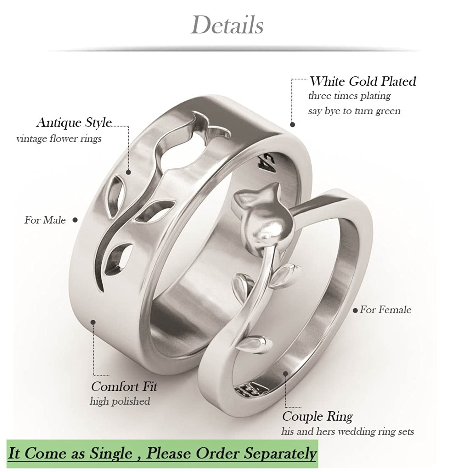 Amazoncom Wedding Bands EVBEA Vintage Flower Promise Rings for