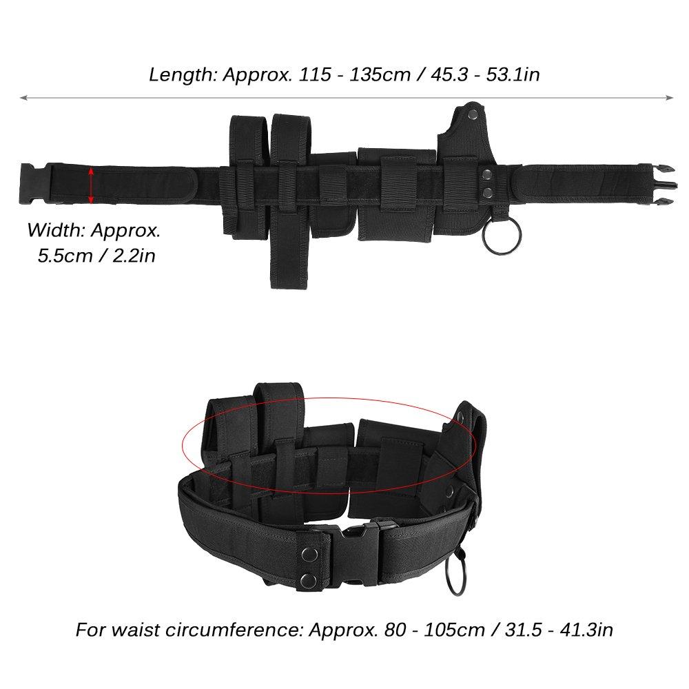 Festnight Lixada Cintura Tattica per Esterni Apparecchiature per Applicazioni di Sicurezza di Polizia Sicurezza Militare Cintura di utilit/à per Uso Militare con Borse Fondina Gear