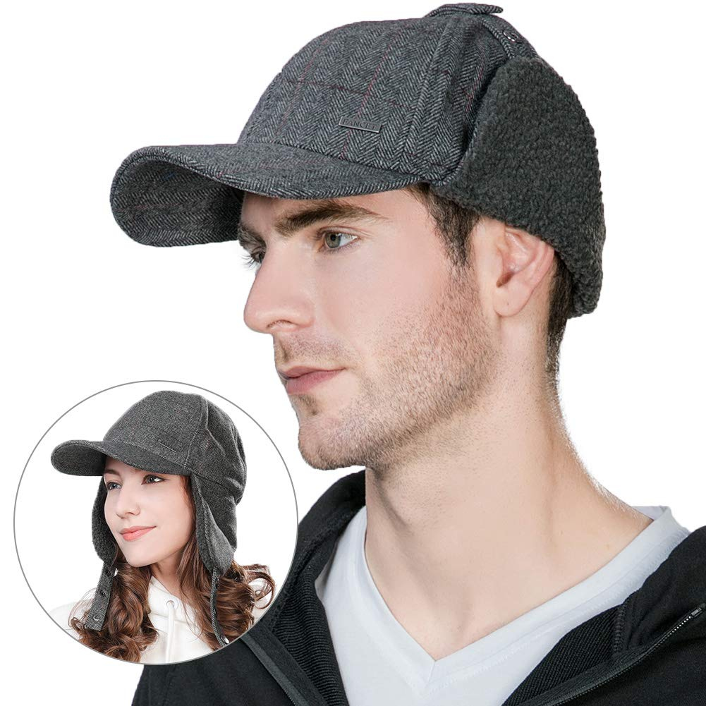 811ea95635cd8 Amazon.com  FancetAccessory Winter Trapper Hat Men Wool Baseball Cap Ear  Flaps Elmer Fudd Hat Fur Hunting Snow Cold Weather Women Grey  Clothing