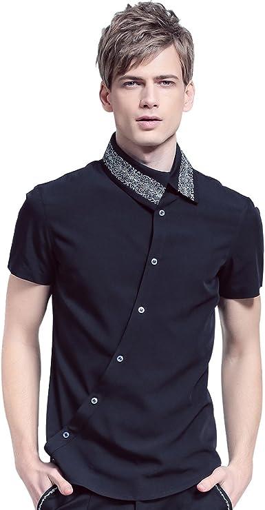 FANZHUAN Camisas Hombre Negras Manga Corta Libre De Arrugas Retro Slim Fit: Amazon.es: Ropa y accesorios