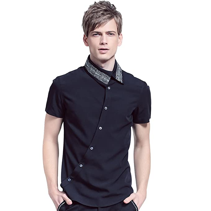 FANZHUAN Fashion Shirt Mens Short Sleeve Black Slim Fit Shirt Style Button Down at Amazon Mens Clothing store: