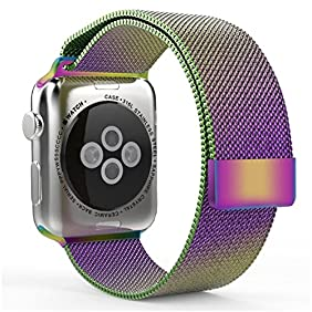 Apple Watch Band Replacement, Fancy C Best Milanese Loop Stainless Steel Bracelet Strap Replacement Wrist iWatch Band with Strong Magnet Lock for Apple Watch Sport and Edition (42mm, Colorful)