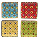 Certified International 22463SET/4 Tunisian Sunset Canape Plates (Set of 4), 6'', Multicolor