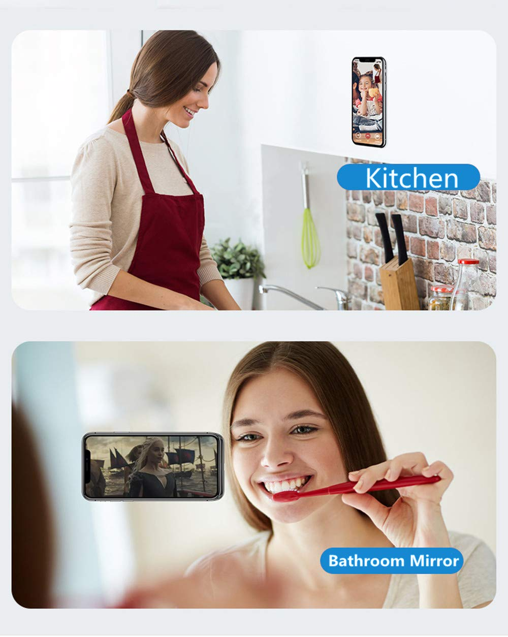 Washable Magic Stickers Nano Gel Pad Phone Holder Magic Mount Multi-Purpose Universal Stickers Apply to Car Round Kitchen Gym Desk etc to Hold Various Small Device and Stuffs Bathroom Cupboard
