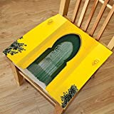 Nalahome Set of 2 Waterproof Cozy Seat Protector Cushion Arabian Decor Morroccan Oriental Style Walkway Old Islamic Building Architecture Stone Carving Photo Green Yellow Printing Size 20x20inch