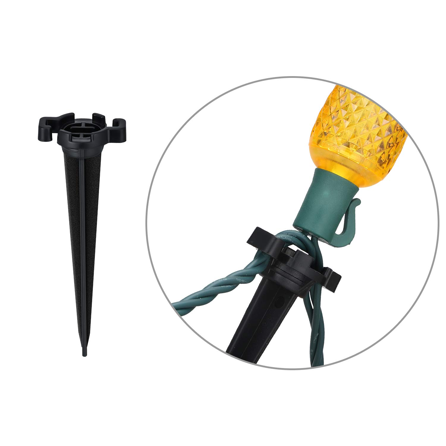 30 Pieces Christmas Light Stakes C7 C9 Black Plastic Light Stakes Lawn Pathway String Light Stakes for Christmas Holiday 4.5 Inch