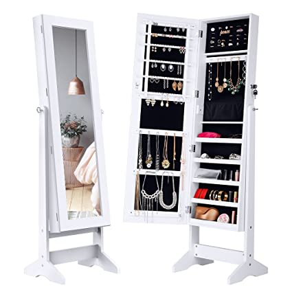 Charming LANGRIA Lockable Jewelry Cabinet Standing Jewelry Armoire Organizer With  Mirror, Full Length Standing Jewelry Storage