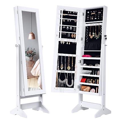 Amazoncom LANGRIA Lockable Jewelry Cabinet Standing Jewelry
