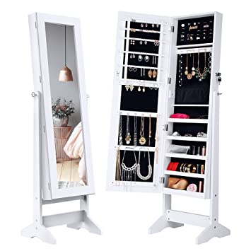 Marvelous LANGRIA Lockable Jewelry Cabinet Standing Jewelry Armoire Organizer With  Mirror, Full Length Standing Jewelry Storage