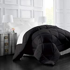 Italian Luxury Goose Down Alternative Comforter - All Season - 2100 Series Hotel Collection - Luxury Hypoallergenic Comforter - Full,Queen - Black