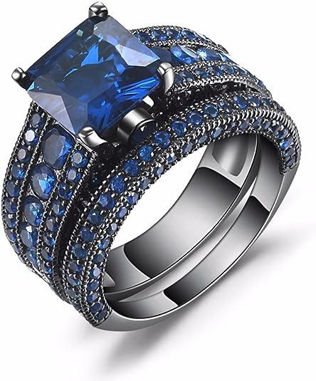 Amazon Com Castillna Juego De Anillos De Boda De Plata De Ley Con Zafiro Azul Creado En Plata De Ley Jewelry