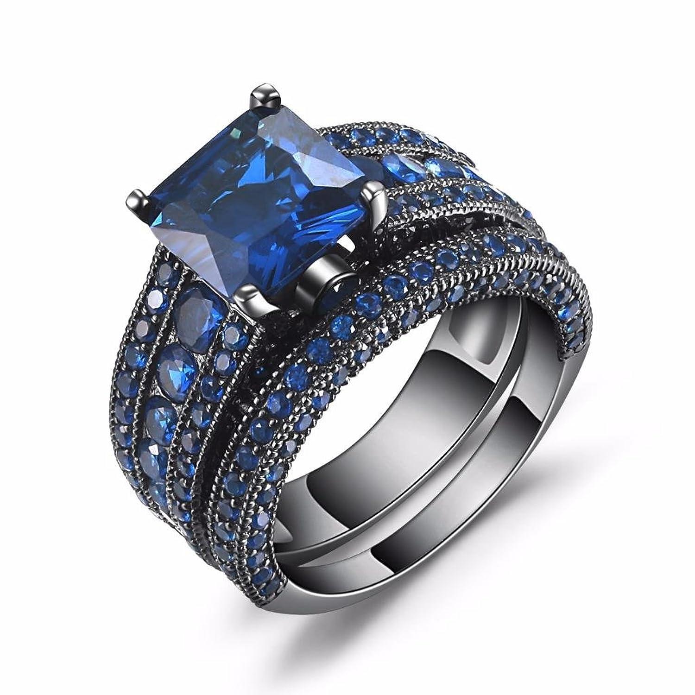 Castillna Black Sterling Silver Princess Cut Created Blue Sapphire Engagement Wedding Bridal Rings Set
