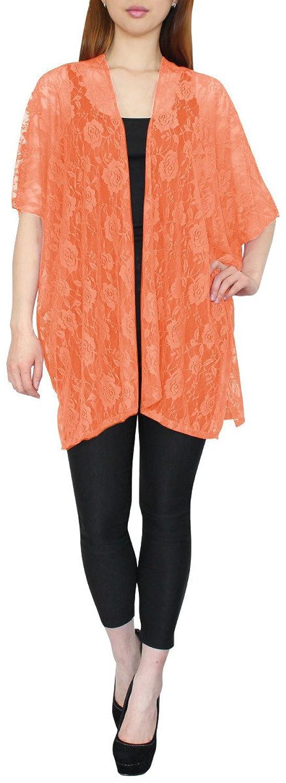 Leichter Damen Sommer Poncho Cardigan mit Ärmel aus Spitzen mit Blumen-Muster - SJ024