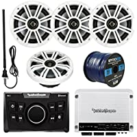 Rockford Fosgate PMX-0 Ultra Compact Bluetooth Marine Boat Digital Media Receiver Bundle Combo With 4x Kicker KM654 6.5 Inch Audio Speakers + 400 Watt Amplifier + Enrock Radio Antenna + 50Ft Wire