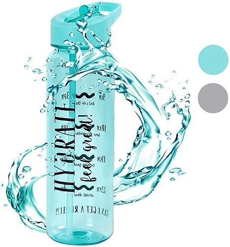 Cantimplora, Botella de agua con pajita/Pajita, deportes botella ...