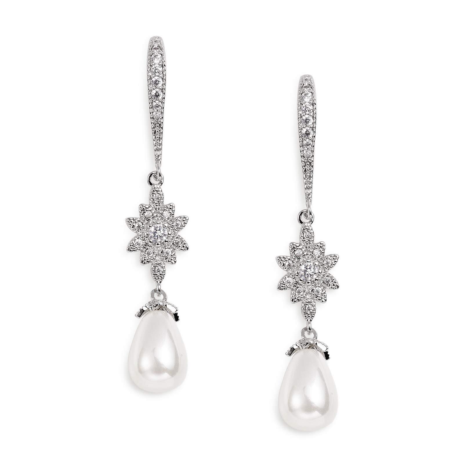 SWEETV Pearl Drop Earrings for Wedding Bridal -Teardrop Cubic Zirconia Dangle Earrings for Women,Bridesmaids,Brides