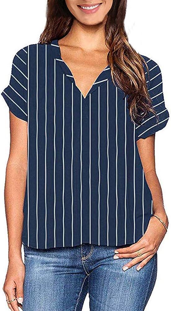 Camisetas Rayas Mujer Manga Corta Elegante,BuyO Tops De Verano para Mujer Blusa De Manga Corta