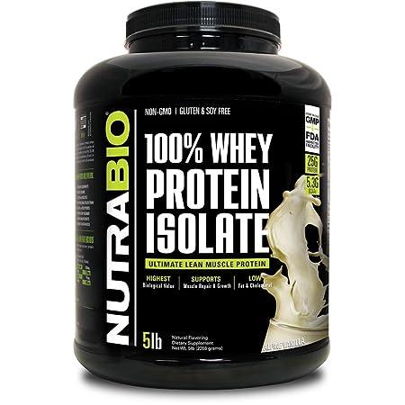 NutraBio 100 Whey Protein Isolate Vanilla, 5 Pounds