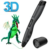 3D Printing Pen, Tecboss Intelligent 3D Pen with OLED Display and 2 Loops of 1.75 mm Filament Refills for Creating Children's Imagination and Practical Ability (Black)