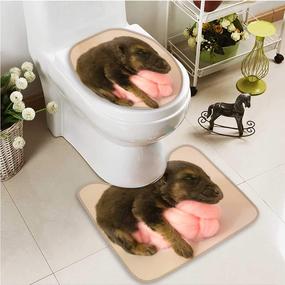 color1 L21\ color1 L21\ Printsonne 2 Piece Bathroom Contour Rugs pet Dog Non Slip Comfortable SND Soft