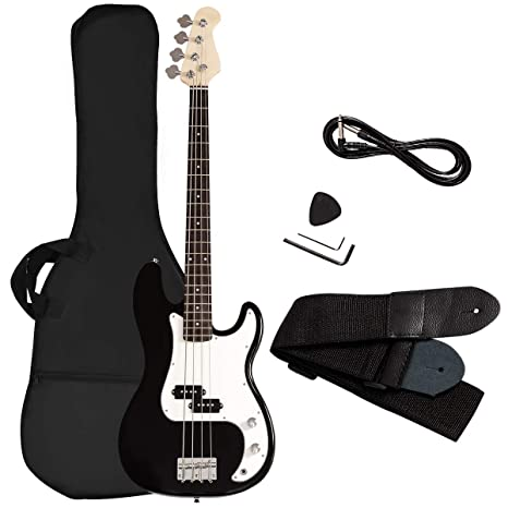 Goplus Bajo eléctrico de tamaño Completo de 4 Cuerdas Guitarra con ...
