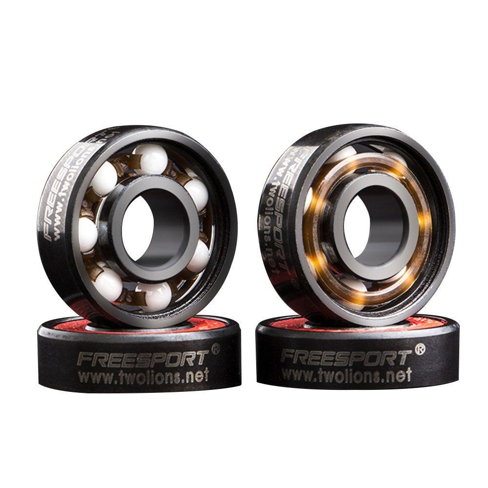 Walmeck FREESPORT 8pcs 608 Generic Hybrid Ceramic Bearing Skateboard Roller Skating Bearings with Ceramic Beads and Sealing Covers