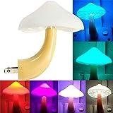 AUSAYE LED Night Light Plug in Lamp Mushroom Night Light 7-Color Changing Magic Mini Pretty Mushroom-Shaped Night Lights for