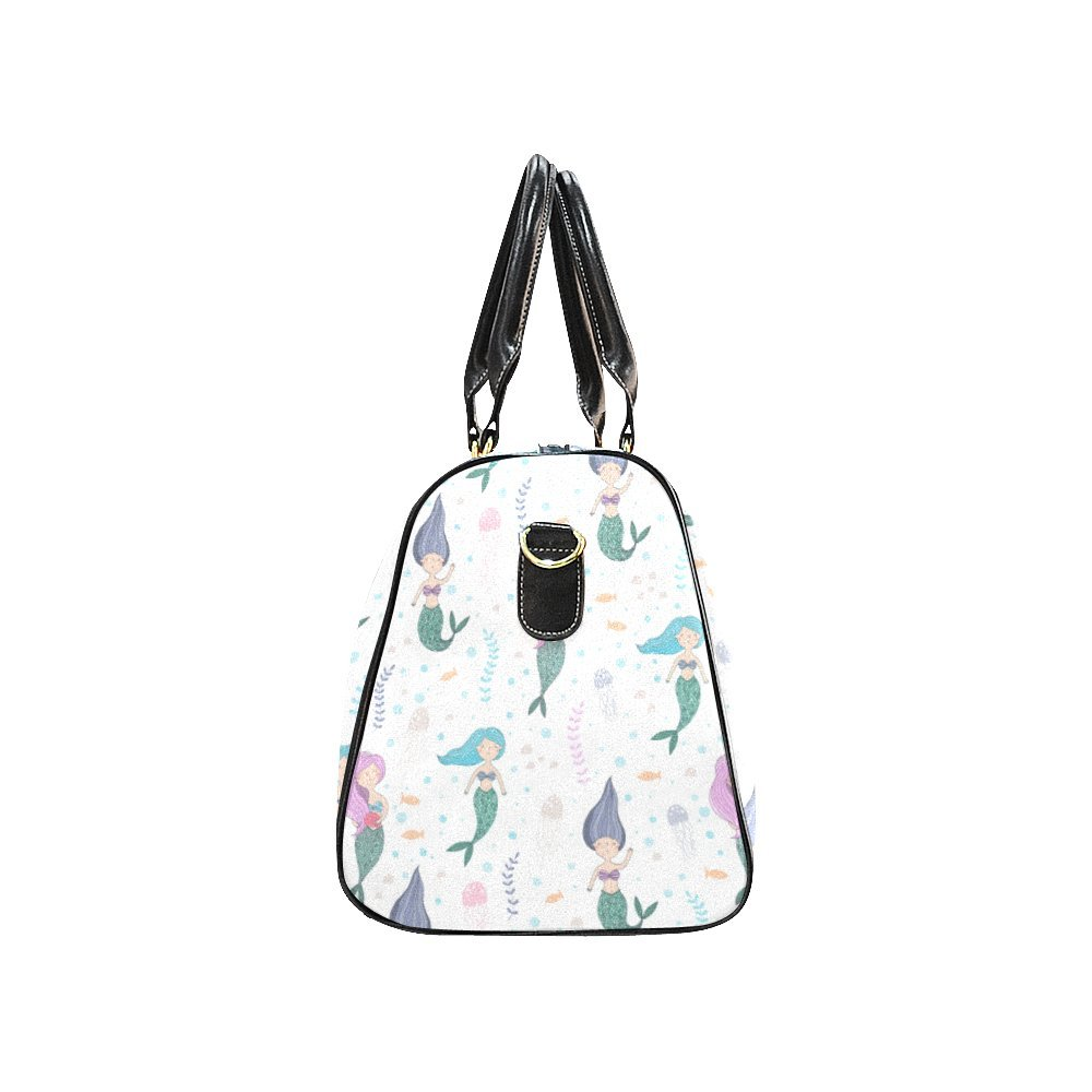 Cute Fish Mermaid Small Travel Duffel Bag Waterproof Weekend Bag with Strap