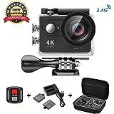 Daping 4K Action Cam Videocamera Full HD 1080P 12MP Sport ActionCamera Impermeabile 170° Grandangolare 2.0 Pollici due 1050mAh Batterie e Kit Accessori (2.4G Telecomando)