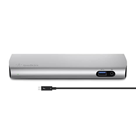 Belkin Thunderbolt 3 Dock w/ 2 6ft Thunderbolt 3 Cable (Thunderbolt Dock  for MacBook Pro models from 2016 or later, includes the 2018 version), Dual