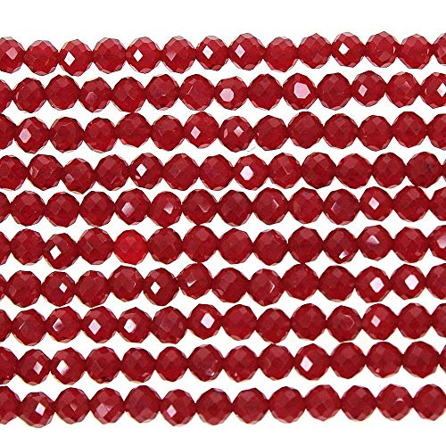 MJDCB 3mm Faceted Natural Red Spinel Round Loose Beads for Jewelry Making DIY Bracelet Necklace ()
