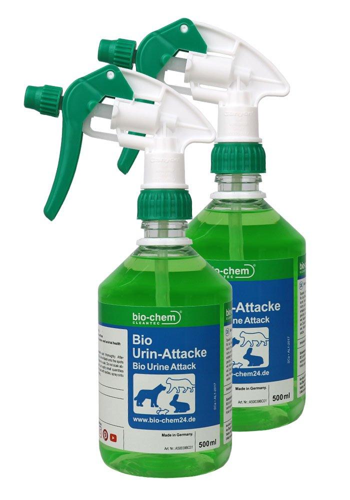 Désodorisant bio contre l'urine de chat et d'animaux 1000ml Kit de recharge avec tête de pulvérisation biochem