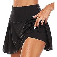 Damsportbyxor kjol 2 i 1 sportleggings med kjol stretchig sportshorts atletisk byxkjol löpkjol stretchleggings tennis…
