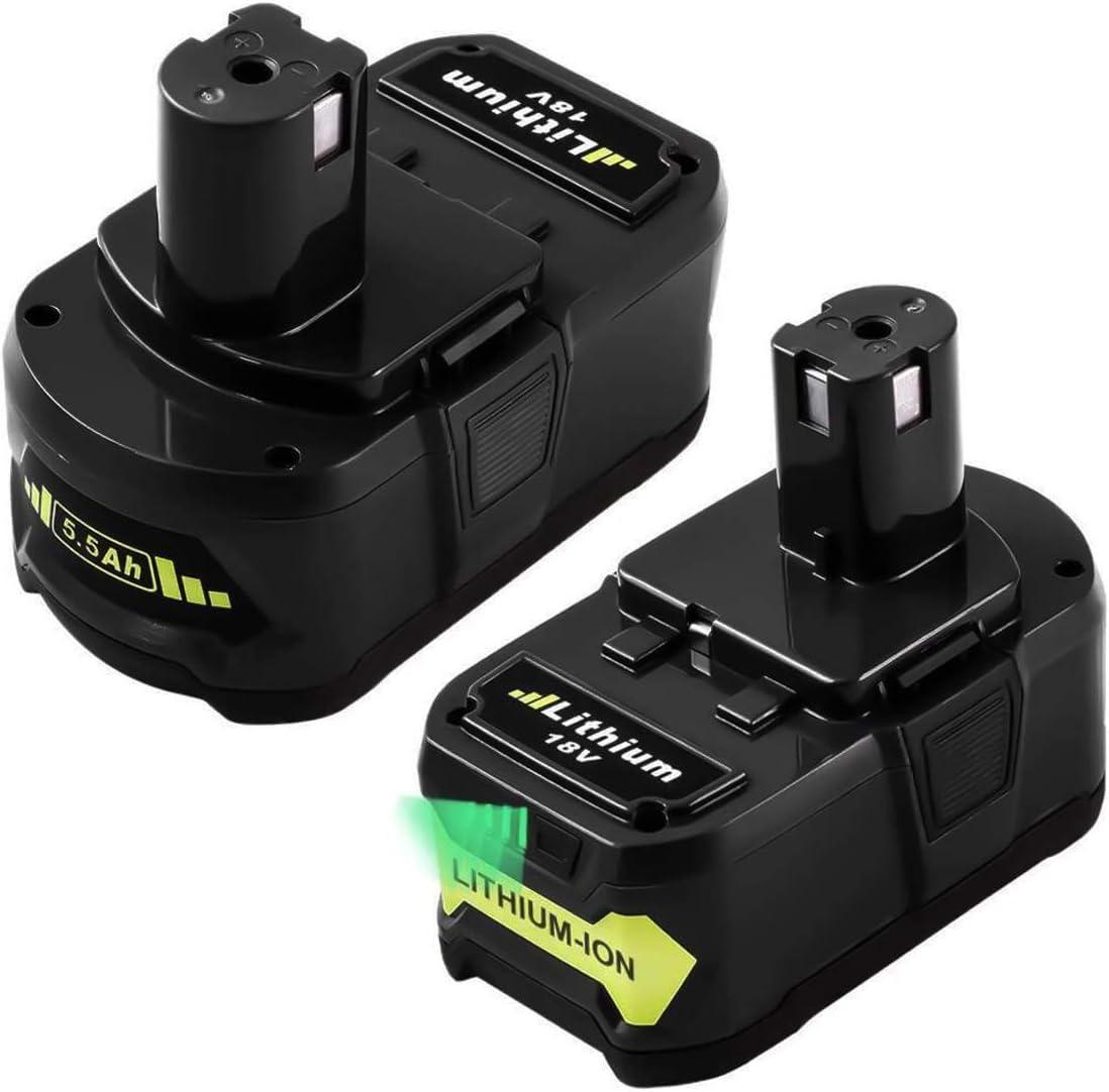 Topbatt 2X 18V 5.5Ah de reemplazo para Ryobi Batería One+ RB18L50 RB18L40 RB18L25 RB18L15 RB18L13 P108 P107 P122 P104 P105 P102 P103 con indicador de carga LED