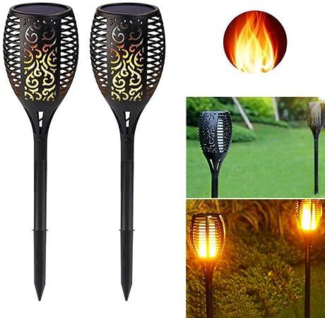 RQQHYD Luz De Antorcha Solar 96 Leds Impermeable Energía Solar Luz De Llama Led Decoración De Paisaje Al Aire Libre Lámpara De Jardín: Amazon.es: Hogar