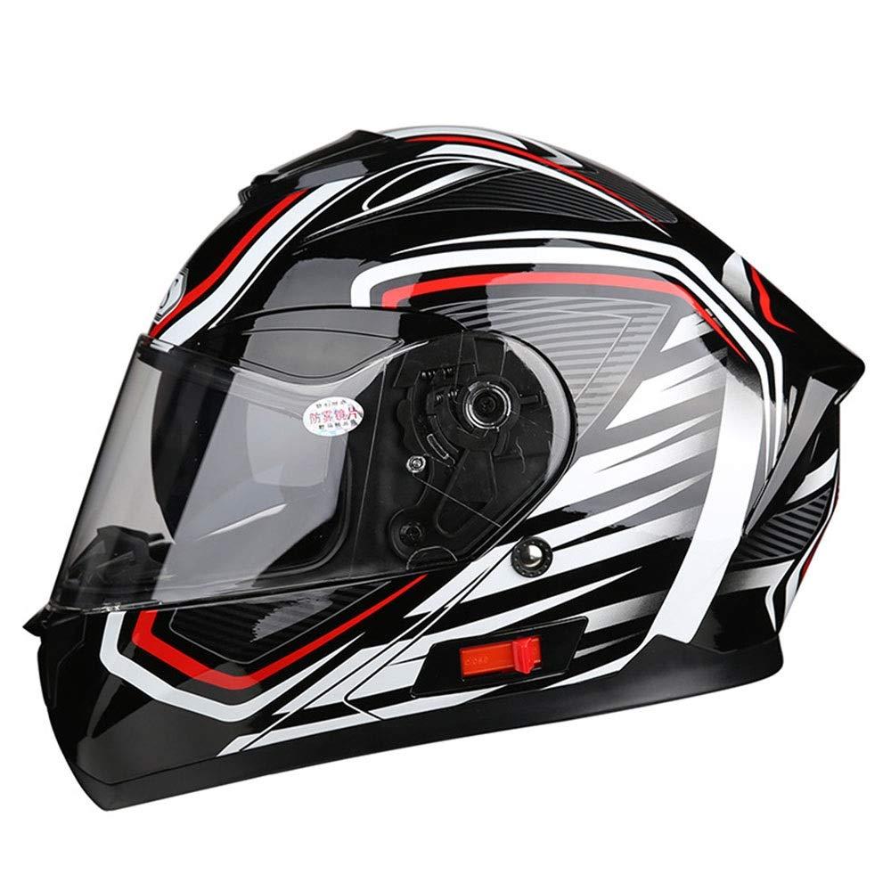 KUVV Perfecto Doppelscheibe M/änner Und Frauen Motorrad Full Cover Helm Lokomotive Elektroauto Offroad Fahren Full Helm Streifen Schwarz Rot Wei/ß ABS Size : L