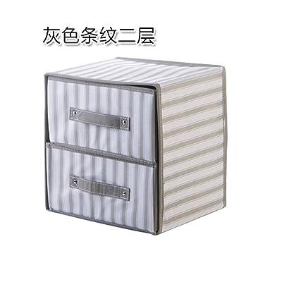 Tissus à rayures, tiroirs armoire pliante toilettage jouets fort penderie vêtement gris, boîte de rangement