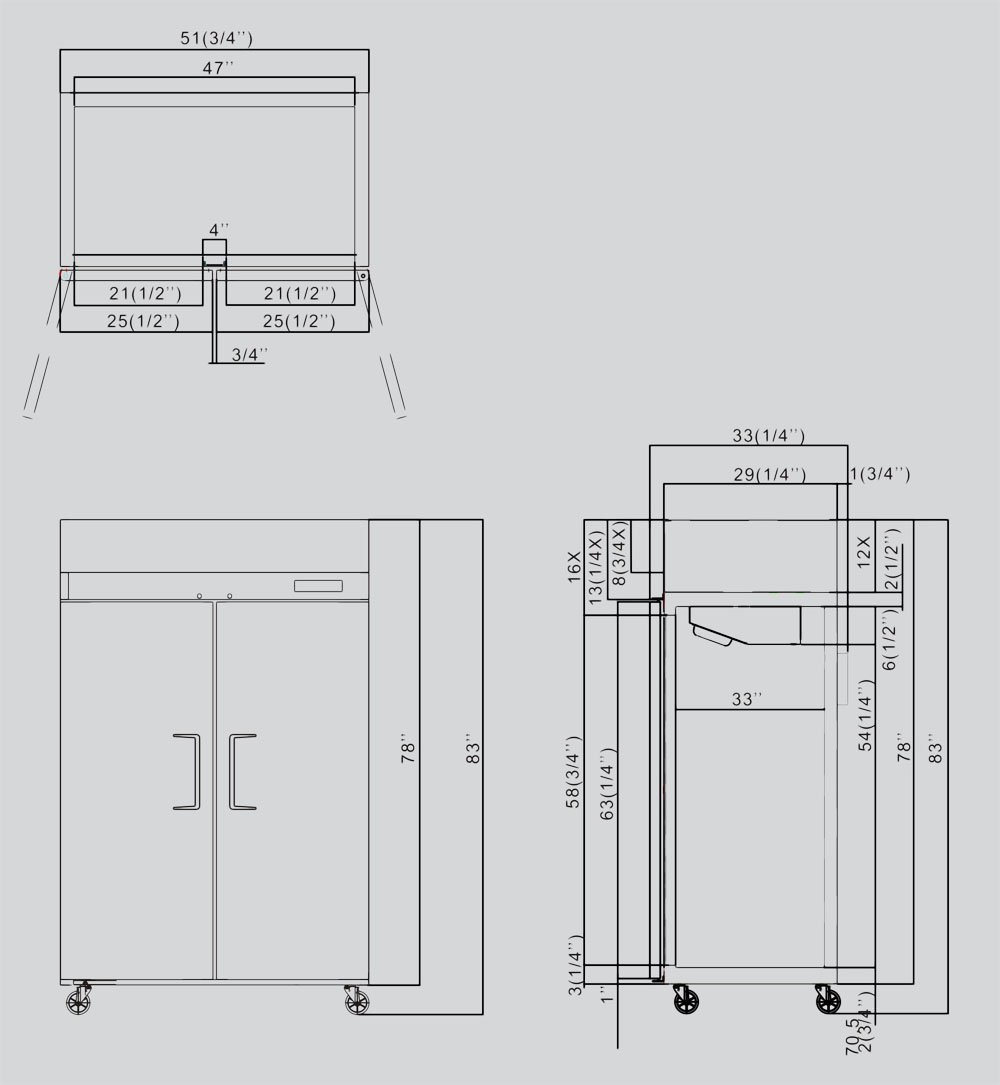 52'' Double 2 Door Side By Side Stainless Steel Reach in Commercial Refrigerator, 49 Cubic Feet, for Restaurant