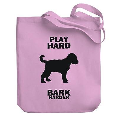Teeburon PLAY HARD Schnoodle BARK HARDER Canvas Tote Bag