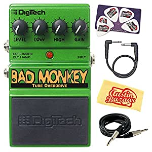 DigiTech DBM Bad Monkey Tube-Overdrive Analog Distortion Guitar Effects Pedal Bundle with Gearlux Instrument Cable, Patch Cable, Picks, and Polishing Cloth