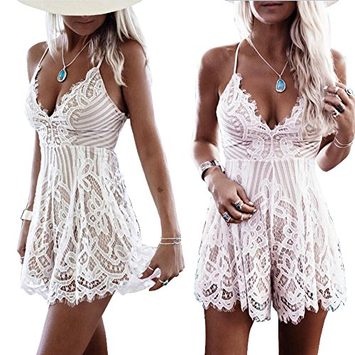 Women Lace Jumpsuit Deep V Neck Backless Romper Playsuit Beachwear Dress Not See Through White-L