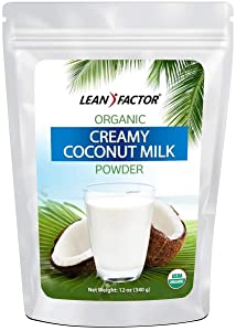Powdered Coconut Milk Organic - Dried & Shelf Stable For Convenience - Emergency Food For Long Term Storage - Dairy & Lactose Free Powder Creamer - All Natural, Non GMO, Vegan, & Gluten Free - 12 oz
